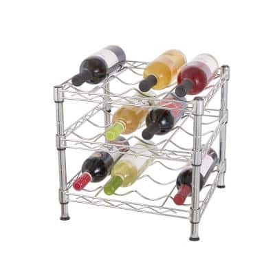 3 Tier Wire Countertop Wine Rack in Chrome