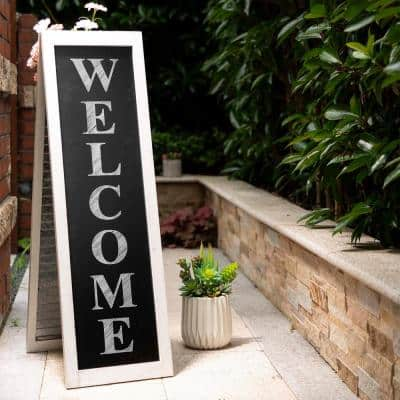 36 in. H Double Sided Wooden/Metal Shutter Welcome Porch Sign Decor/Planter Stand (2 Function)