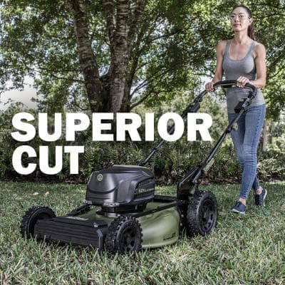 62V Cordless 3-in-1 High Wheel Push Walk Behind Mower, Brushless 22 In. Cutting Width with 4Ah Battery and Rapid Charger