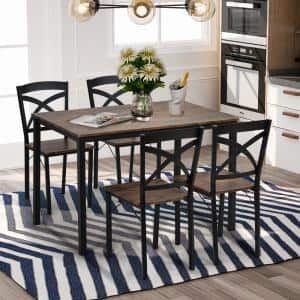 5-Piece Industrial Brown Dining Set with Ergonomic Chairs