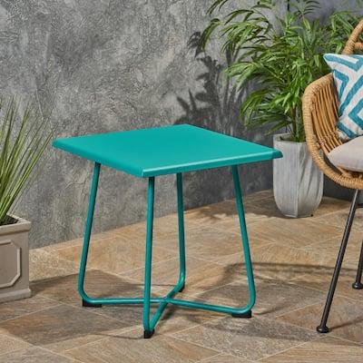 Alder Teal Square Metal Outdoor Side Table