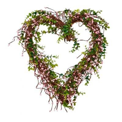 17 in. Artificial Pink Berry Heart Wreath
