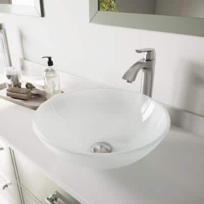 Glass Round Vessel Bathroom Sink in Frosted White with Linus Faucet and Pop-Up Drain in Brushed Nickel