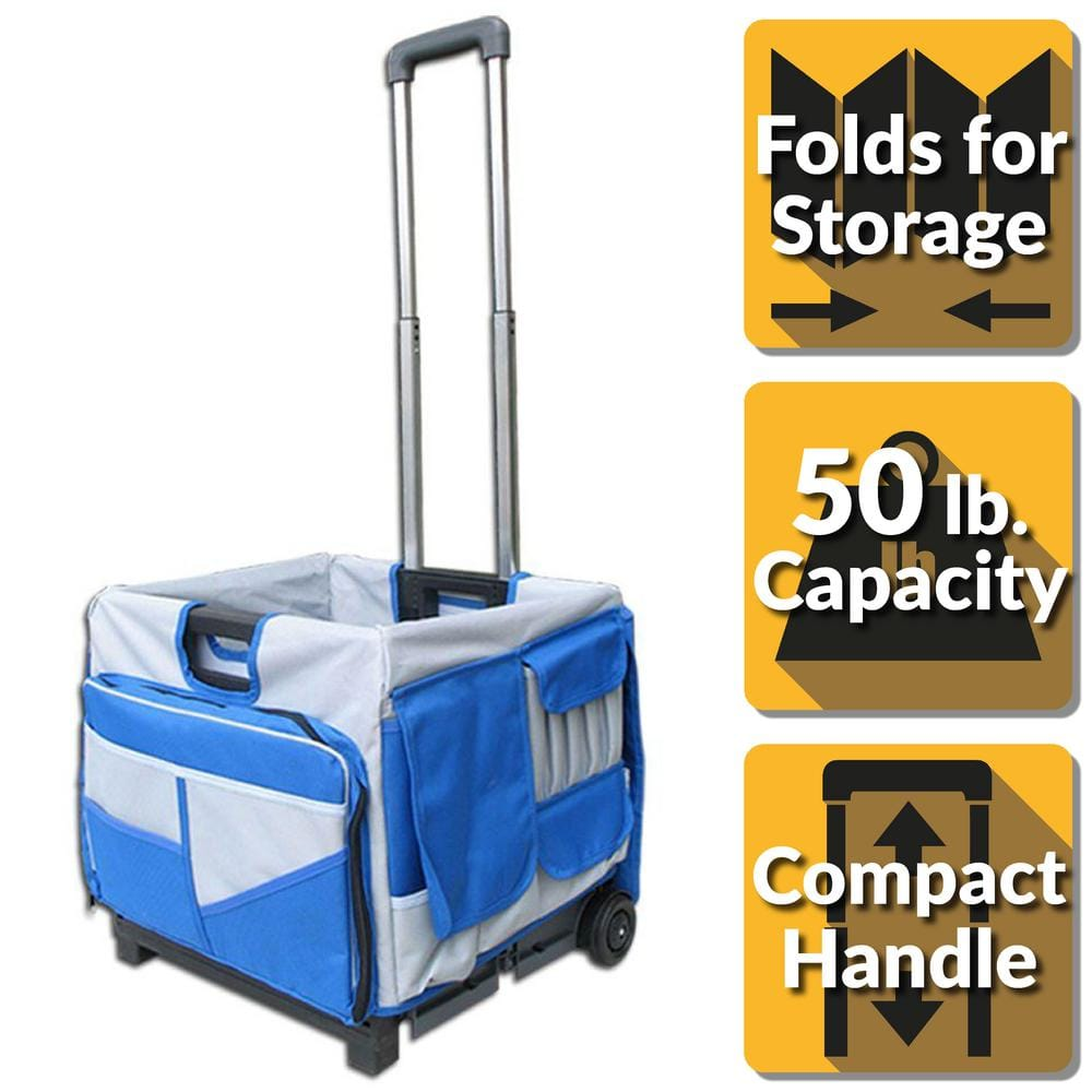 PACK-N-ROLL Pack-N-Roll 18 in. 0-Drawer Foldable Utility Cart 48-Pocket