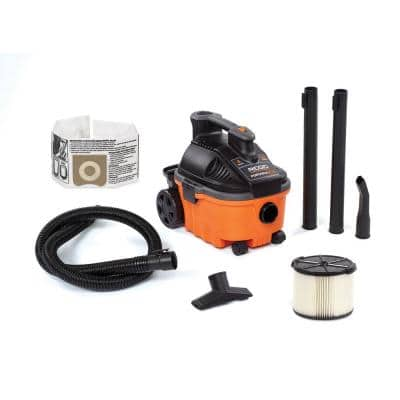 4 Gallon 5.0-Peak HP Portable Wet/Dry Shop Vacuum with Fine Dust Filter, Hose and Accessories