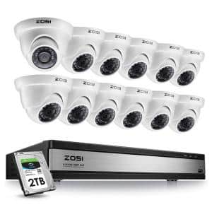 16-Channel 1080p 2TB DVR Security Camera System with 12 Wired Dome Cameras