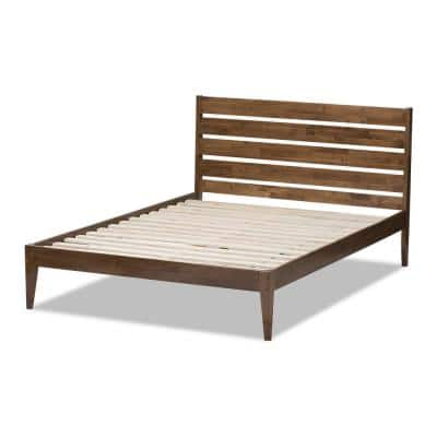 Elmdon Medium Brown Wood Queen Platform Bed