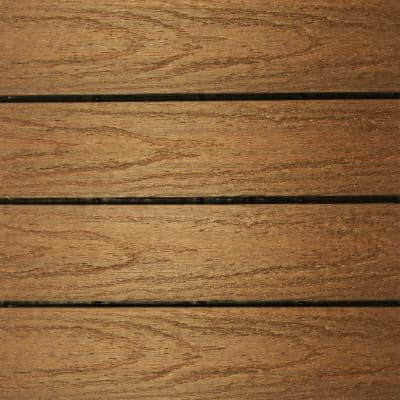 UltraShield Naturale 1 ft. x 1 ft. Quick Deck Outdoor Composite Deck Tile Sample in Peruvian Teak