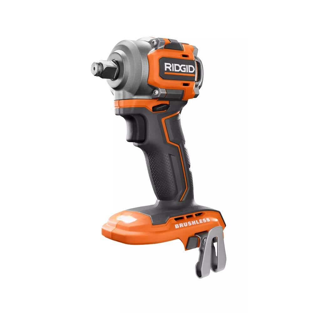 RIDGID 18V SubCompact Lithium-Ion Cordless Brushless 1/2 in. Impact Wrench (Tool Only) with Belt Clip