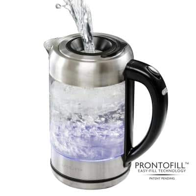 7-Cup 1.7 l Silver Glass Electric Kettle with ProntoFill Technology-Fill Up with Lid On