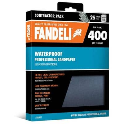 9 in. x 11 in. 400 Grit Fine Silicon Carbide Waterproof Sandpaper (25-Pack)