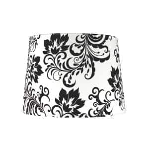 14 in. x 10 in. Off White and Black Floral Design Hardback Empire Lamp Shade