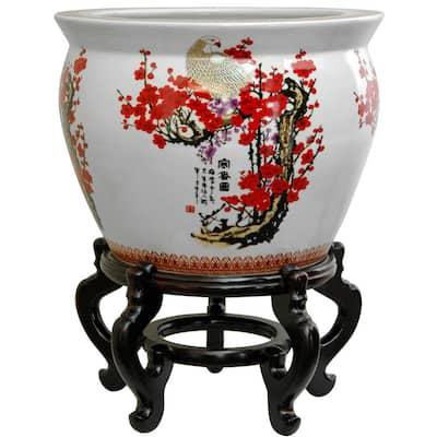 12 in. Cherry Blossom Porcelain Fishbowl