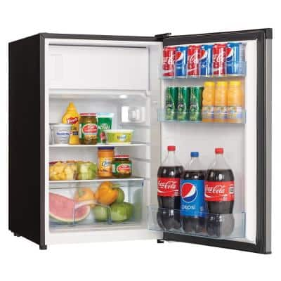 4.5 cu. ft. Mini Fridge with Freezer Section in Black/Stainless Steel