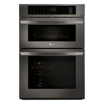 30 in. Combination Double Electric Smart Wall Oven w/ Convection, EasyClean, Built-in Microwave in Black Stainless Steel