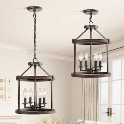 Kitchen Pendant Lighting Open Cage 4-Light Painted Wood with Vintage Black Semi-Flush Convertible Hanging Pendant Light