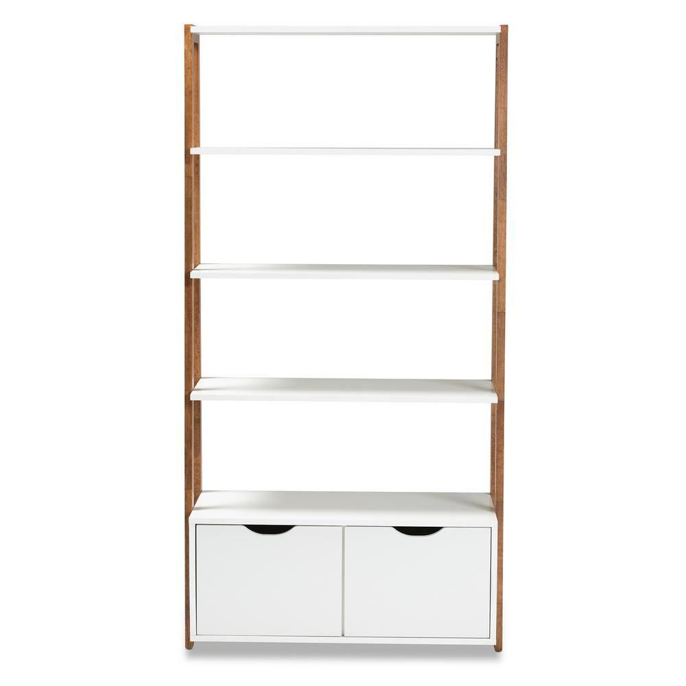 Baxton Studio Senja White And Ash Walnut Ladder Bookshelf 163 10565 Hd The Home Depot