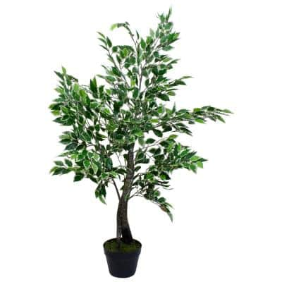 47 in. Artificial Variegated Green and Ivory Leaf Ficus Potted Plant