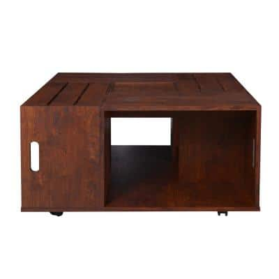 Alba 32 in. Vintage Walnut Medium Square Wood Coffee Table with Casters