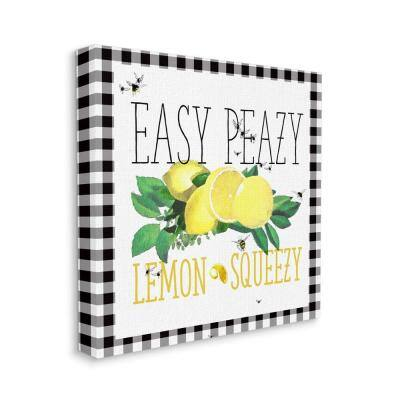"""""""Easy Peazy Lemon Squeezy Kitchen Humor Plaid Word Design"""" by The Saturday Evening Post Canvas Wall Art 30 in. x 30 in."""