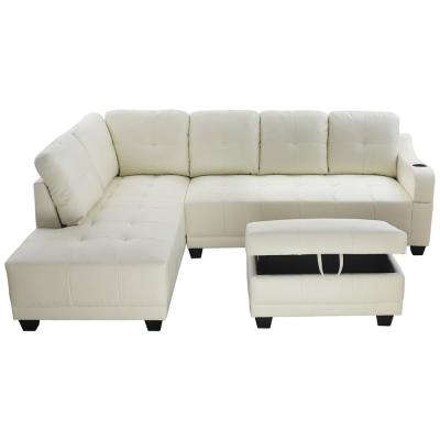 Shelly 3-Piece Off-White Faux Leather 3-Seater L-Shaped Left-Facing Sectional Sofa with Ottoman
