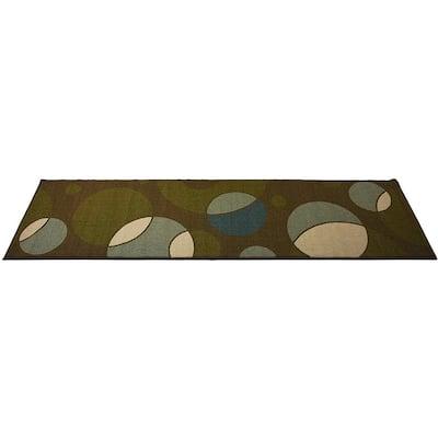 Modern Abstract Geometric Circles Design Green 2' Width x 7' Length Slip Resistant Rubber Runner Rug