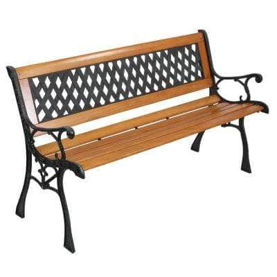 49 in. Iron Frame Wood Outdoor Bench
