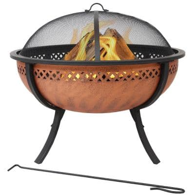 Steel Fire Pit Bowl with Copper Finish and Crossweave Border Cutout