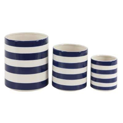 Modern 7 in., 9 in. and 12 in. White and Blue Cylindrical Ceramic Vases (Set of 3)