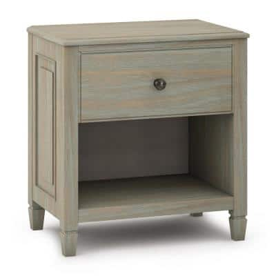Connaught 1-Drawer Distressed Grey Nightstand 26 in. H x 24 in. W x 16 in. D