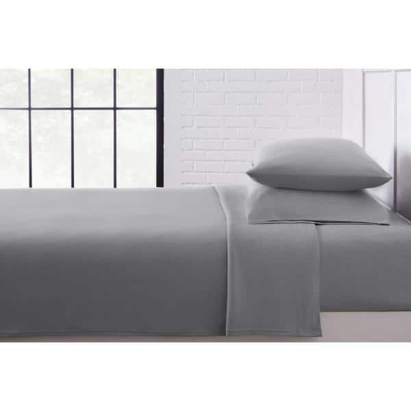 Stylewell Jersey Knit Cotton Blend 4 Piece King Sheet Set In Stone Gray Cn29kshtsestone The Home Depot