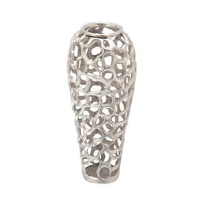Silver Aluminum Contemporary Decorative Vase