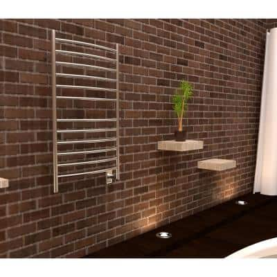 Radiant Large Curved 12-Bar Hardwired Electric Towel Warmer in Brushed Stainless Steel