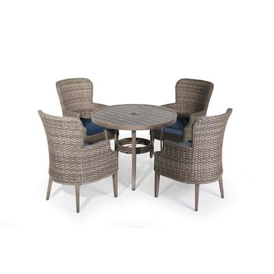 5-Piece Wicker Outdoor Serving Bar Set Patio Aluminum Conversation Set with Blue Cushions