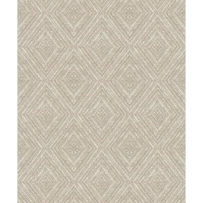 Metallic Fabric Diamonds Wallpaper Taupe Paper Strippable Roll (Covers 57 sq. ft.)
