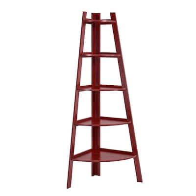 63 in. Cherry Wood MDF 5-shelf Corner Ladder Bookcase