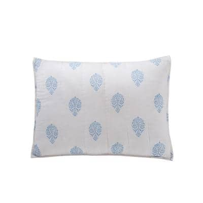 Mayla 26 in. W x 26 in. L in Blue Cotton Standard Sham