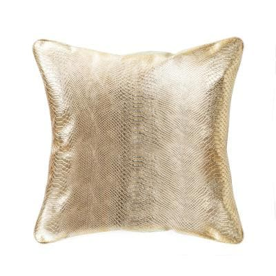 Vicenza Solid 19 in. x 19 in. Leather Pillow