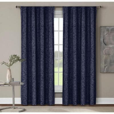 Indigo Geometric Rod Pocket Room Darkening Curtain - 52 in. W x 84 in. L (Set of 2)