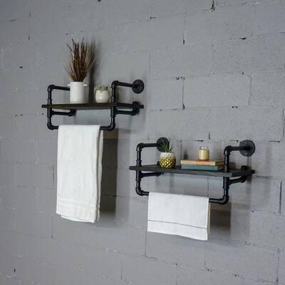 Denver Industrial Farmhouse 27 in. Wide Espresso 2-Piece Wall Shelf Rack Set