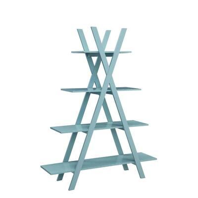 59 in. Sea Foam Wood 4-shelf Ladder Bookcase with Open Back