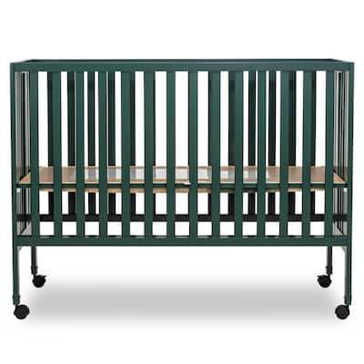 Quinn Full-Size Olive Folding Crib I Removeable Wheels I Modern Nursey I Adjustable Mattress Support