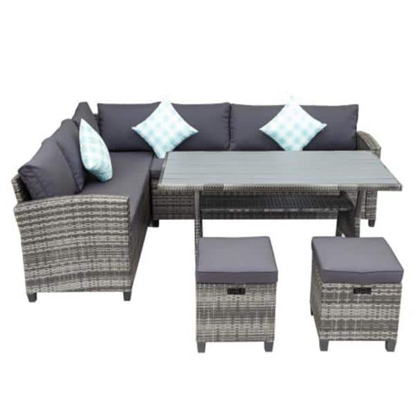 Boyel Living 5 Piece Outdoor, Outdoor Sectional Couch With Dining Table