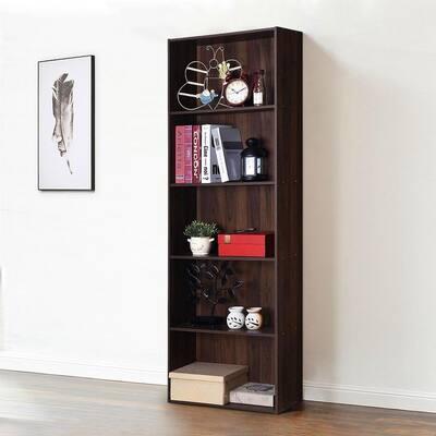 67 in. Brown 5-Shelf Standard Bookcase with Adjustable Shelves
