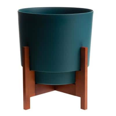 Hopson Medium 12 in. Charleston Green Plastic Planter with Wood Stand