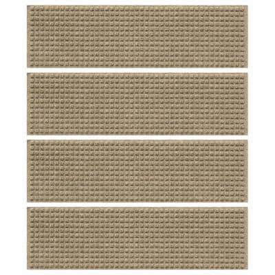 Aqua Shield Squares 8.5 in. x 30 in. Stair Treads (Set of 4) Camel