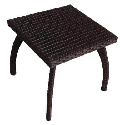 Honolulu Brown Square Wicker Outdoor Accent Table