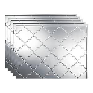 Monaco 18 in. x 24 in. Brushed Aluminum Vinyl Decorative Wall Tile Backsplash 15 sq. ft. Kit