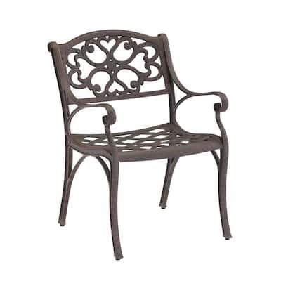 Sanibel Rust Bronze Stationary Cast Aluminum Outdoor Dining Arm Chair (2-Pack)