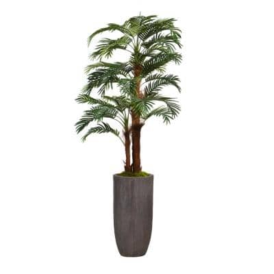 80.25 in. Palm Tree Faux Decor with Burlap Kit in Resin Planter